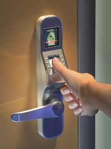 biometric keyless door lock with thumb on scanning pad - Biometric Door Lock