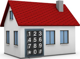 Model of House With A Keypad For Front Door